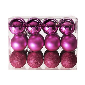 24 Fuschia Pink 6cm Shatterproof Christmas Tree Bauble Décorations