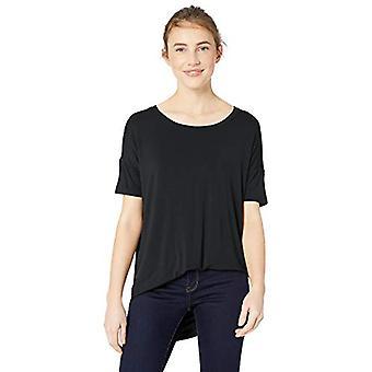 Brand - Daily Ritual Women's Jersey Rib Trim Drop-Shoulder Short-Sleeve Scoop Tunic, Black, Large