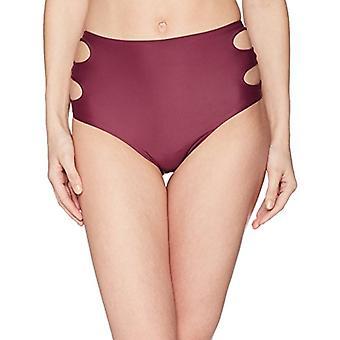 Brand - Coastal Blue Women's Swimwear High Waist Bikini Bottom, raisin, S (4-6)