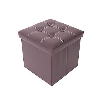 Rebecca Furniture Pouf Container Brown Pouff Square Ecopelle 30x30x30