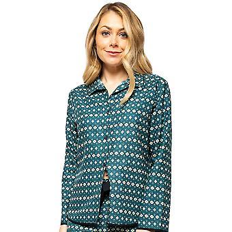 Cyberjammies Elena 4568 Mujeres's Teal Azul Geométrico Pyjama Top