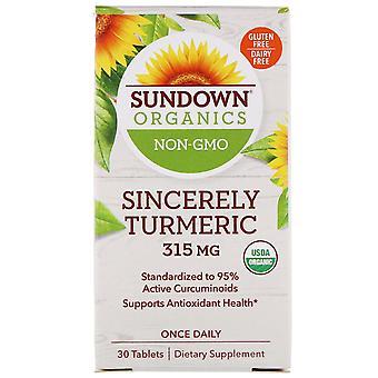 Sundown Organics, Sincerely Turmeric, 315 mg, 30 Tablets