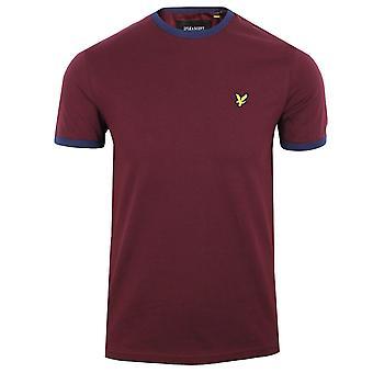 Lyle & scott men's burgundy ringer t-shirt