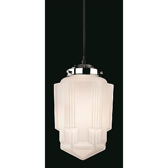 1 Light Ceiling Pendant Chrome, Opal White Glass, E27