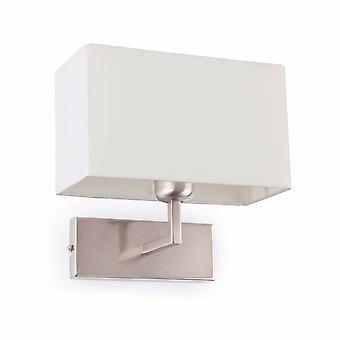 Faro Roda - 1 Lys Indendørs Wall Light White, Satin Nikkel med Skygge, E27