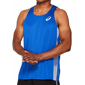 Asics Practice Mens Running Fitness Training Singlet Vest Tank Top Blue