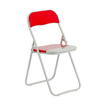 Sillas plegables acolchado cuero falso estudio de la silla de oficina de comedor rojo blanco x1