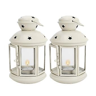 Nicola Spring Candle Lanterns Tealight Holders Metal Hanging Indoor Outdoor - 20cm - Cream - Set 2