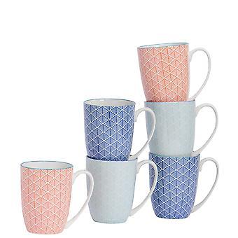 Nicola Spring 6 kpl geometrinen kuviollinen tee- ja kahvimukisetti - Suuret posliinilattemukit - 3 väriä - 360ml