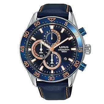 Lorus Mens Chronograph dress horloge met blauwe lederen band (model nr. RM341FX9)