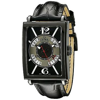 Gevril Men's 5050 Avenue Of Americas Automatic Luminous Black Leather Watch
