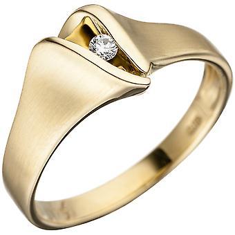 Naisten sormus 585 kulta keltainen kulta matt 1 timantti loistava kultasormus timantti rengas