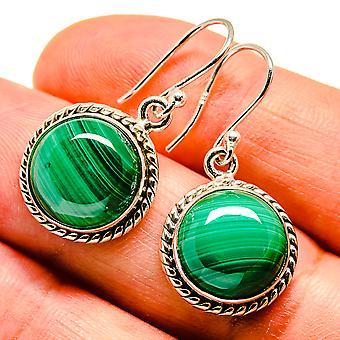 """Malachite Earrings 1 1/4"""" (925 Sterling Silver)  - Handmade Boho Vintage Jewelry EARR408101"""