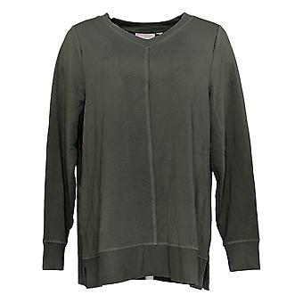 Belle By Kim Gravel Women's Top Suepr Soft V-Neck Tunic Green A383465