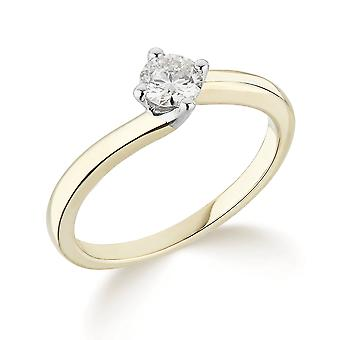 9K Yellow Gold Twist Design 4 Claw Setting 0.20Ct Certified Solitaire Diamond Engagement Ring