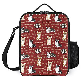 Merry Corgmess Little Corgi Dogs Printed Lunch Bags Reusable Lunch Box