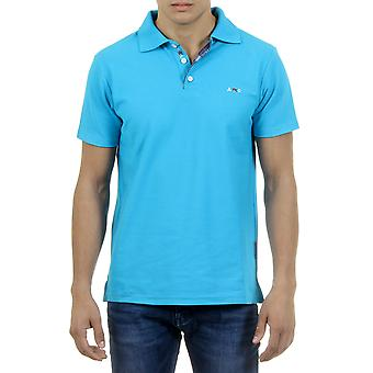 Andrew Charles Men Polo Guler Contrast Slim Fit Albastru deschis