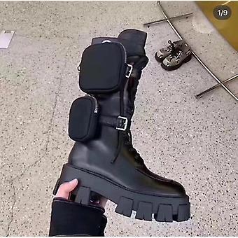 Pocket Moottoripyörä Saappaat Naisten Platform Kengät Pitsi Ylös Paksu-soled Mustat Kengät