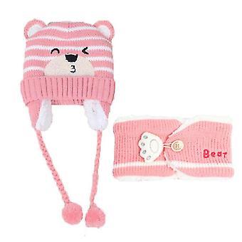 Child Beanies Cap Set, Baby, Kids Stripe Knit, Add Velvet Hat And Sjaal, Winter