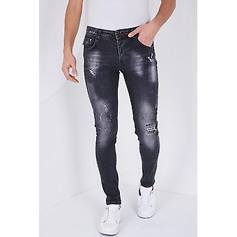 Stretch Jeans With Splashes - Slim Fit - 5501D - Black