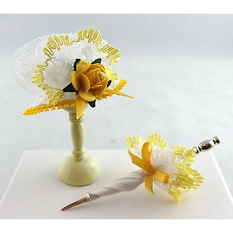 Dolls House Victorian Lady's Lemon Hat & Parasol Miniature Shop Doll Accessoire