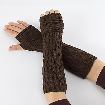Women Semi-long Autumn Winter Knitted Gloves, Half Fingered, Hand Warmer, Soft