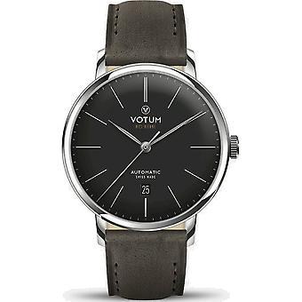 VOTUM - Reloj Unisex - VINTAGE AUTOMATIC - VINTAGE - V08.10.11.05 - correa de cuero - gris-marrón