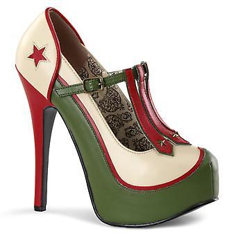Bordello Women's Shoes TEEZE-43 Cream-Olive Green Pu