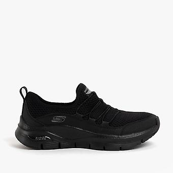 Skechers Arch Fit Lucky Thoughts Ladies Mesh Trainers Noir