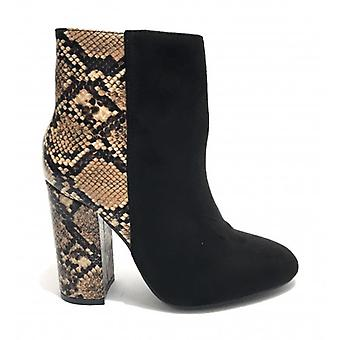 Women's Ankle Boot Gold&gold Tc 95 Black Suede Faux Leather/ Python Print D20gg18