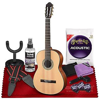 Walden n550e natura nylon classical-electric guitar with spruce top  bundle includes gig bag, acoustic strings, care kit, strap, ps64903