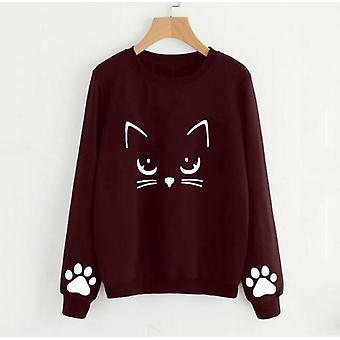 Cat Printing Round Neck Long Sleeve Warm Sweatshirts Women