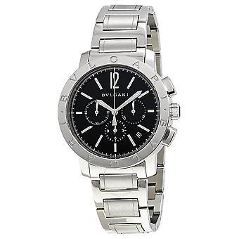 Bvlgari Bvlgari Black Dial Stainless Steel Chronograph Men's Watch 102045