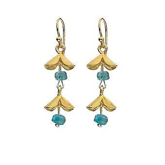 Sterling Silver Earrings - Origins Flower + Gold Plated + Blue Apatite