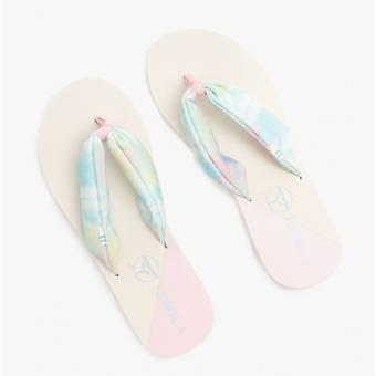TOMS Piper Ladies Jersey Flip Flops Blanc/multi Tie Dye