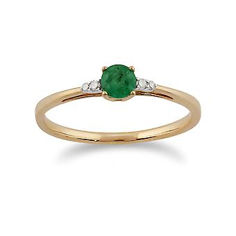 Klassische Runde Smaragd & Diamant-Ring in 9ct Gelbgold 135R1309019