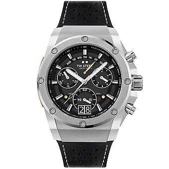 TW Steel Ace121 Ace Genesis Silver & Black Leather Chronograph Mens Watch