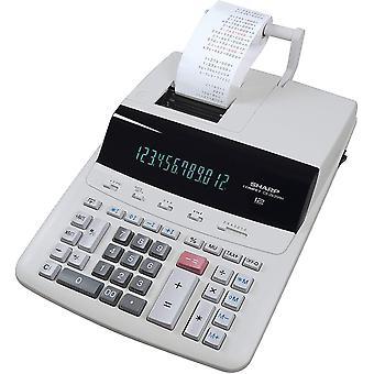 HanFei Druckender Tischrechner CS-2635RHGYSE (12-stellig, schwarz rote Druckfarben) grau