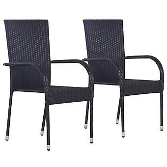vidaXL Stackable Garden Chairs 2 pcs. Poly Rattan Black