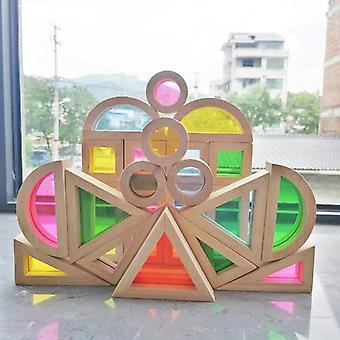Kids Montessori Brinquedos de Madeira Blocos de Arco-Íris Sensoriais