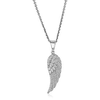 Sterling Silver with Large Textured Angel Wing Pendant