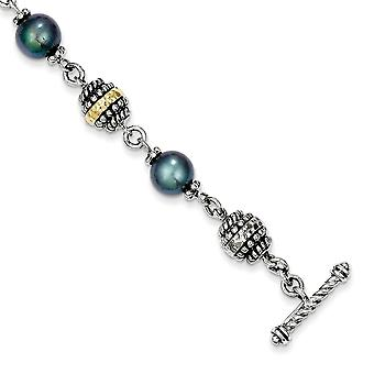 925 Sterling Silver Polished Toggle Closure With 14k 7.5 8mm Freshwater Cultured Cult Black Pearl 8inch Bracelet Jewelry
