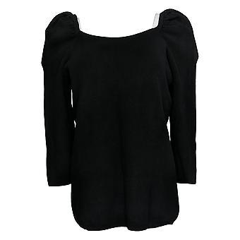 All Worthy Hunter McGrady Women's Sweater Puff Sleeve Black A383789
