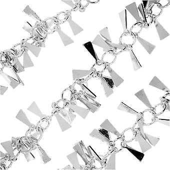 Charm Chain, 8mm Triangle Dangle, Silver Tone Plated, by the Inch