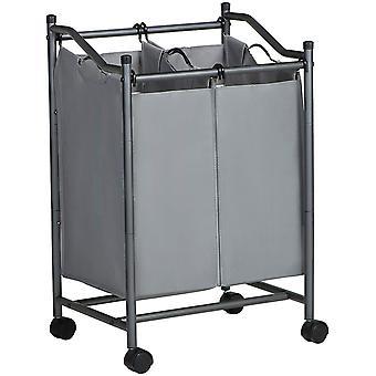 HanFei Wäschesortierer mit Rollen und 2 Fächern, Wäschekorb, Wäschesammler, Wäschewagen mit