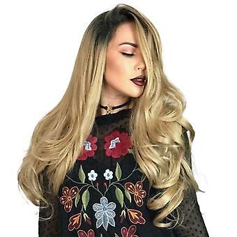 Frauen Perücke Gradient mittel und große Welle lange lockige Haar Kopfabdeckung w290