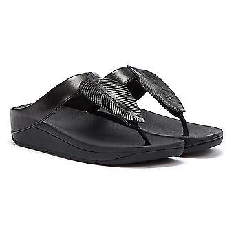 Fitflop Fino Lederen Dames Zwarte Sandalen
