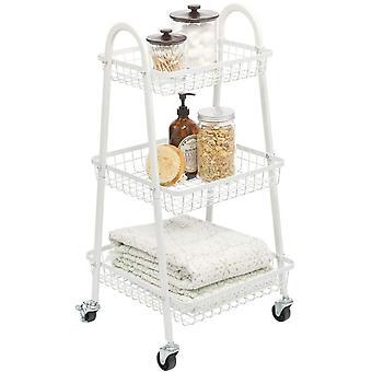 FengChun Rollwagen aus Metall mobiler Küchenwagen mit 3 Ebenen für zusätzlichen Stauraum auch