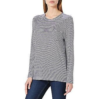 Superdry Pocket Long Sleeve Crew T-Shirt, Granatowy Breton, L Woman