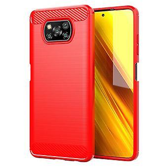 Tpu carbon fibre case for xiaomi poco x3 nfc red mfkj-107